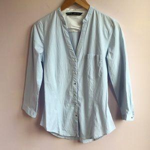 Zara Basic 3/4 Sleeve Striped Button Down Shirt